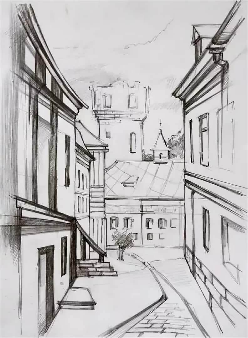 город рисунки карандашом подробно