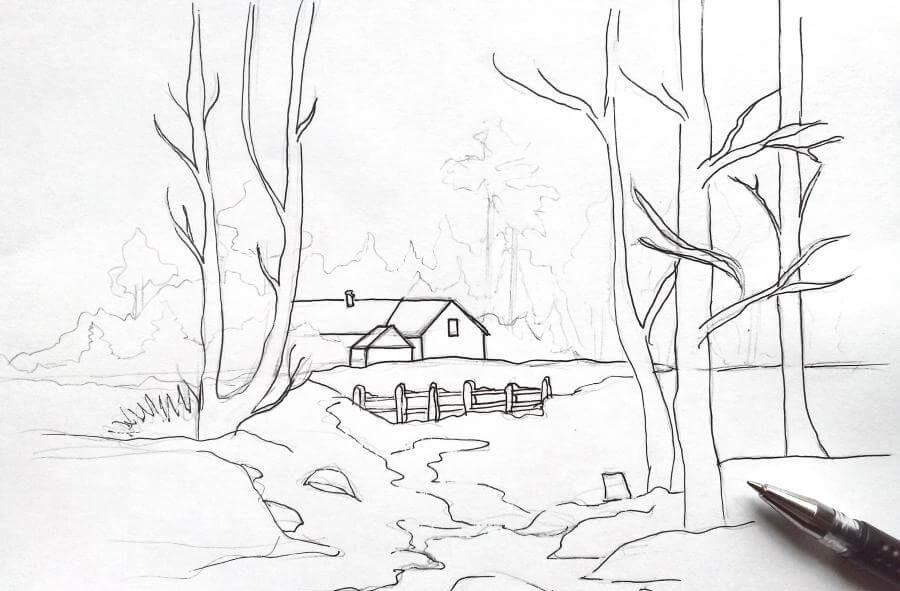 весенние рисунки карандашом легкие построить