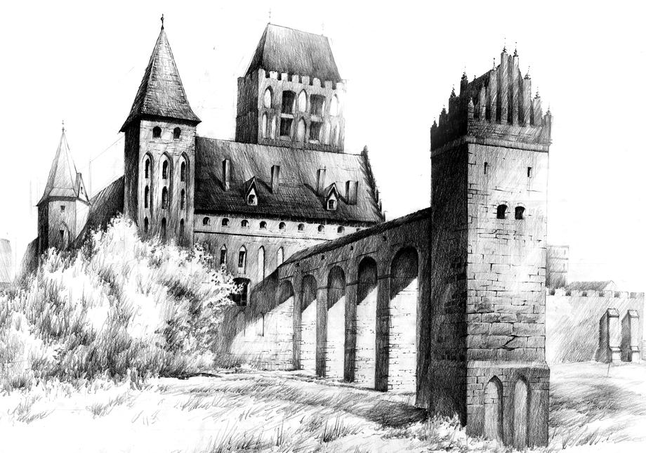 Замок нарисованный карандашом картинки