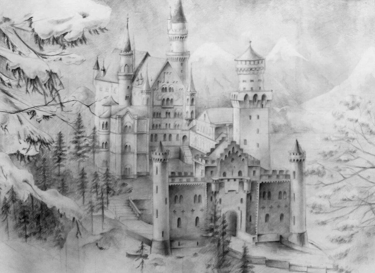 Сказочный город рисунок карандашом для срисовки