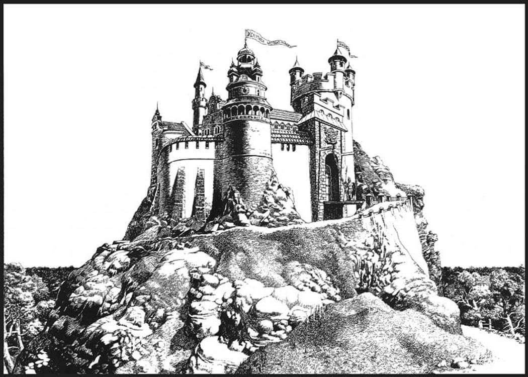 крепость черно белый рисунок способ
