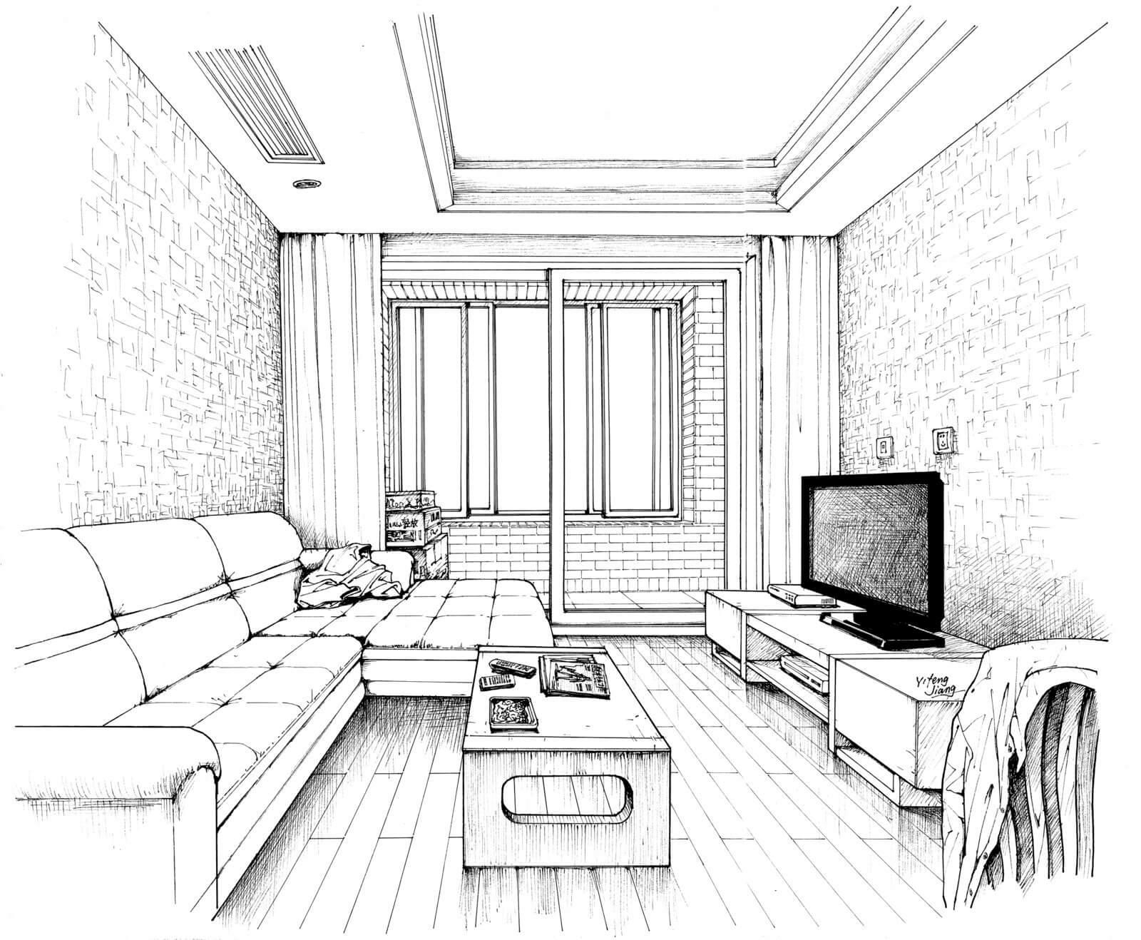 Картинки рисунки гостиной