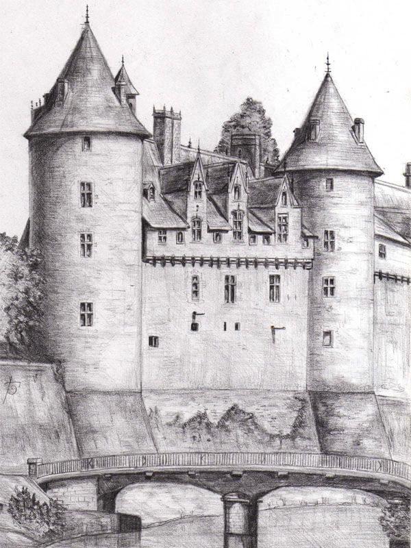 рисунки карандашом замок средневековье драматический баритон пьянит